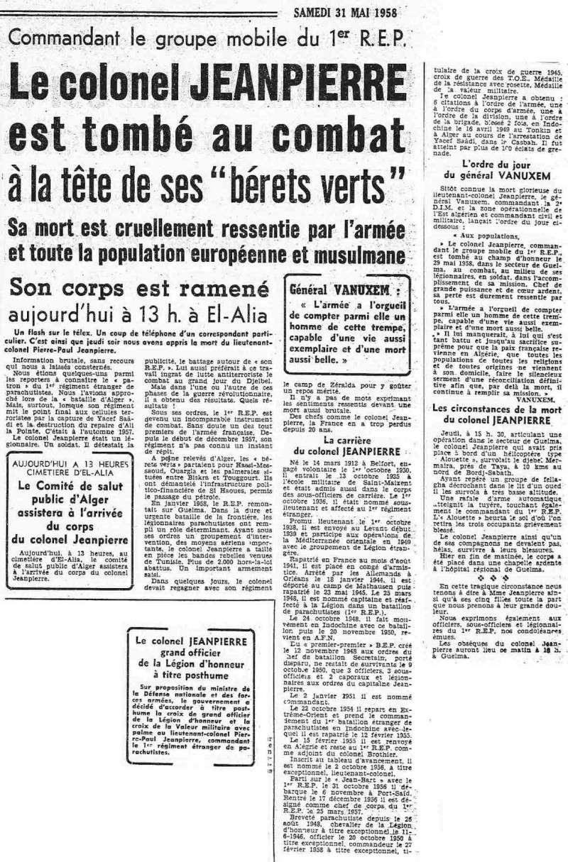 """""""Soleil est Mort"""": Circonstance du décès le 29 mai 1958 du LNT-COL Jeanpierre CDC du 1er REP Echo_j11"""
