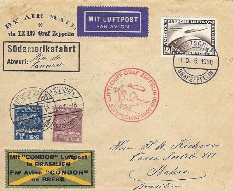 Condor-Flugpostmarken auf Belegen der Südamerikafahrt 1930 57_ee_10