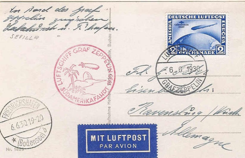"""Südamerikafahrt 1930 (Rundfahrt-) Post nach Friedrichshafen"""" 57_g_210"""