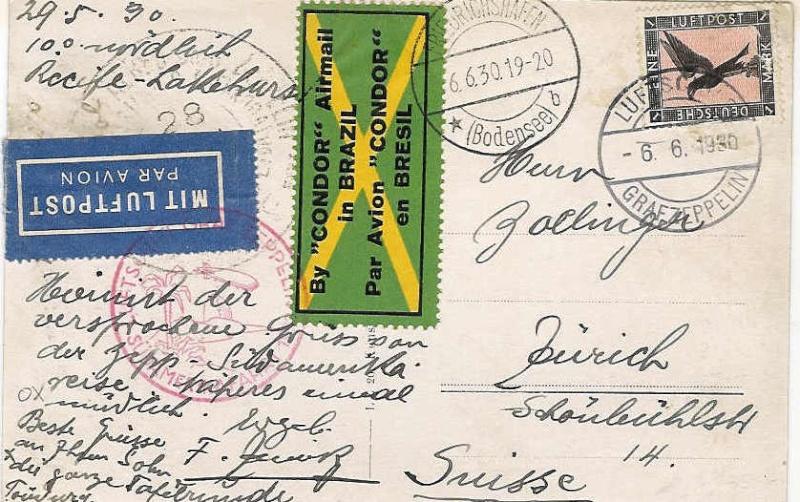 """Südamerikafahrt 1930 (Rundfahrt-) Post nach Friedrichshafen"""" 57_ga_10"""