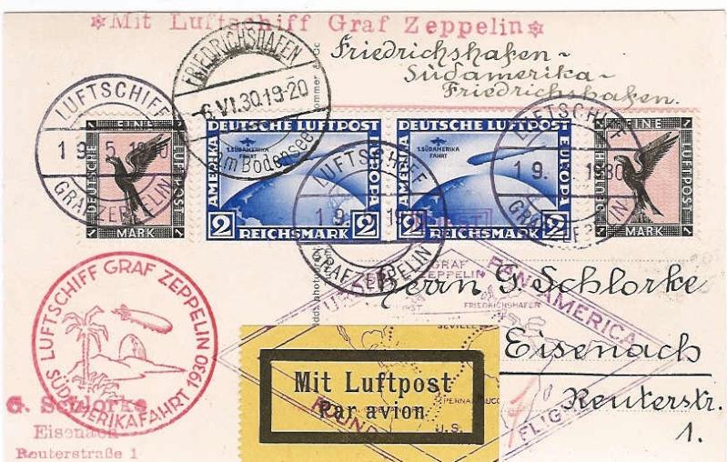 """Südamerikafahrt 1930 (Rundfahrt-) Post nach Friedrichshafen"""" 57_h_k10"""