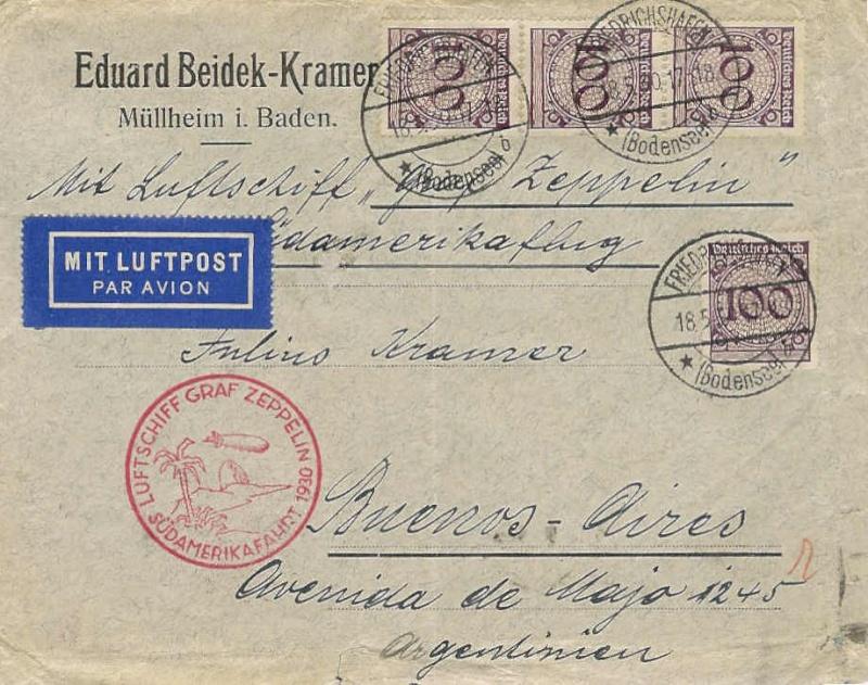 Condor-Flugpostmarken auf Belegen der Südamerikafahrt 1930 57_m_n10