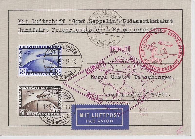 """Südamerikafahrt 1930 (Rundfahrt-) Post nach Friedrichshafen"""" 57_p_f10"""