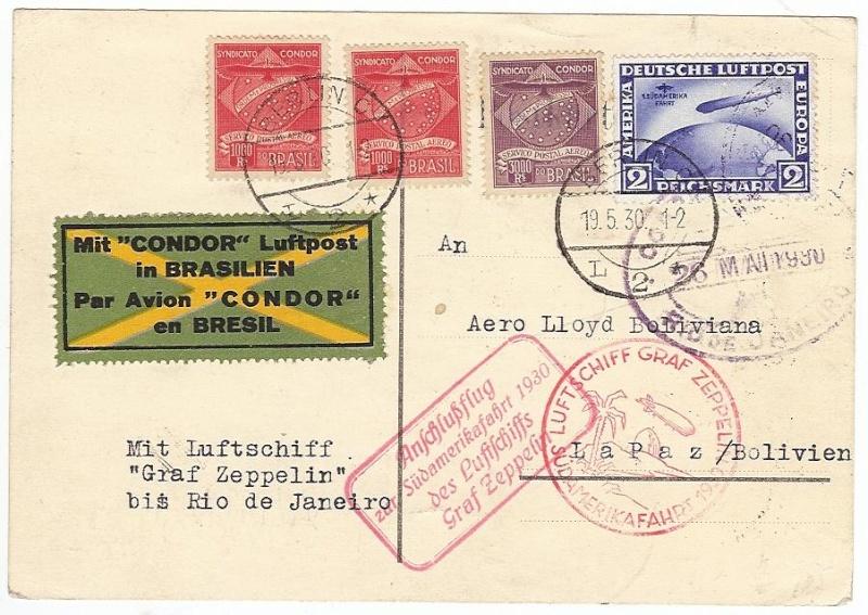Condor-Flugpostmarken auf Belegen der Südamerikafahrt 1930 57_tt_18