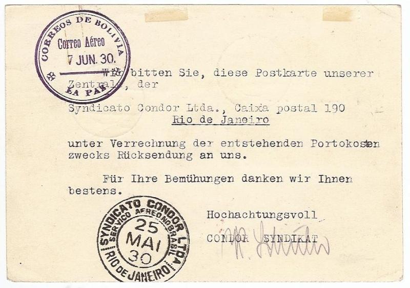 Condor-Flugpostmarken auf Belegen der Südamerikafahrt 1930 57_tt_19