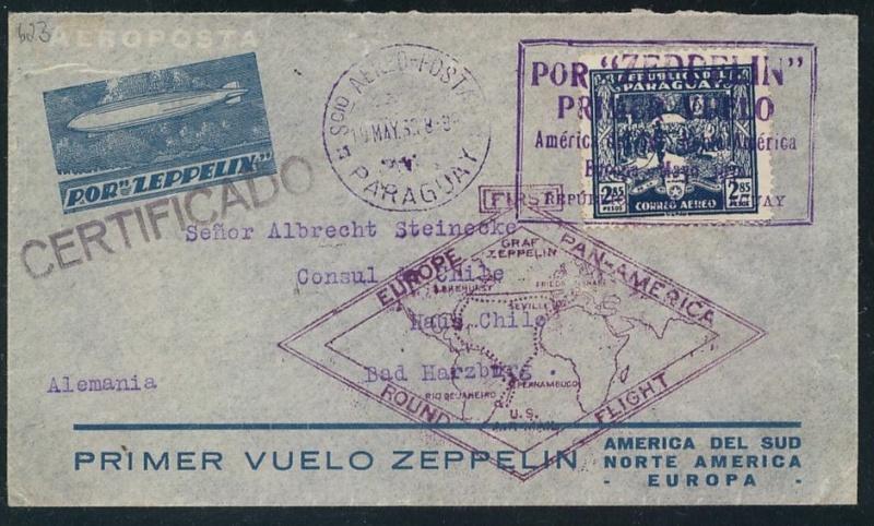 """Südamerikafahrt 1930 (Rundfahrt-) Post nach Friedrichshafen"""" 62_b10"""