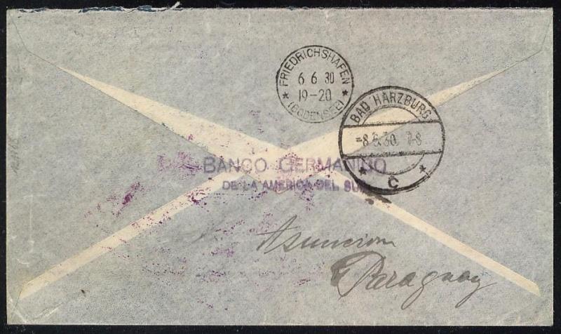 """Südamerikafahrt 1930 (Rundfahrt-) Post nach Friedrichshafen"""" 62_b_r10"""