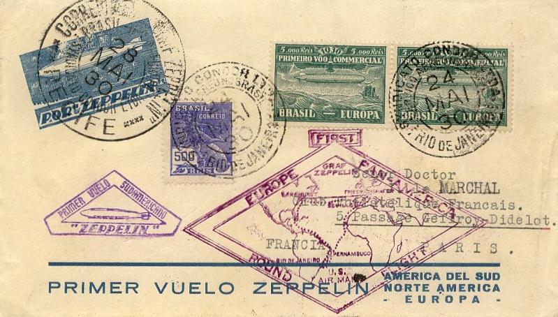"""Südamerikafahrt 1930 (Rundfahrt-) Post nach Friedrichshafen"""" 63_bra10"""