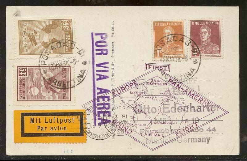 """Südamerikafahrt 1930 (Rundfahrt-) Post nach Friedrichshafen"""" 63_x11"""