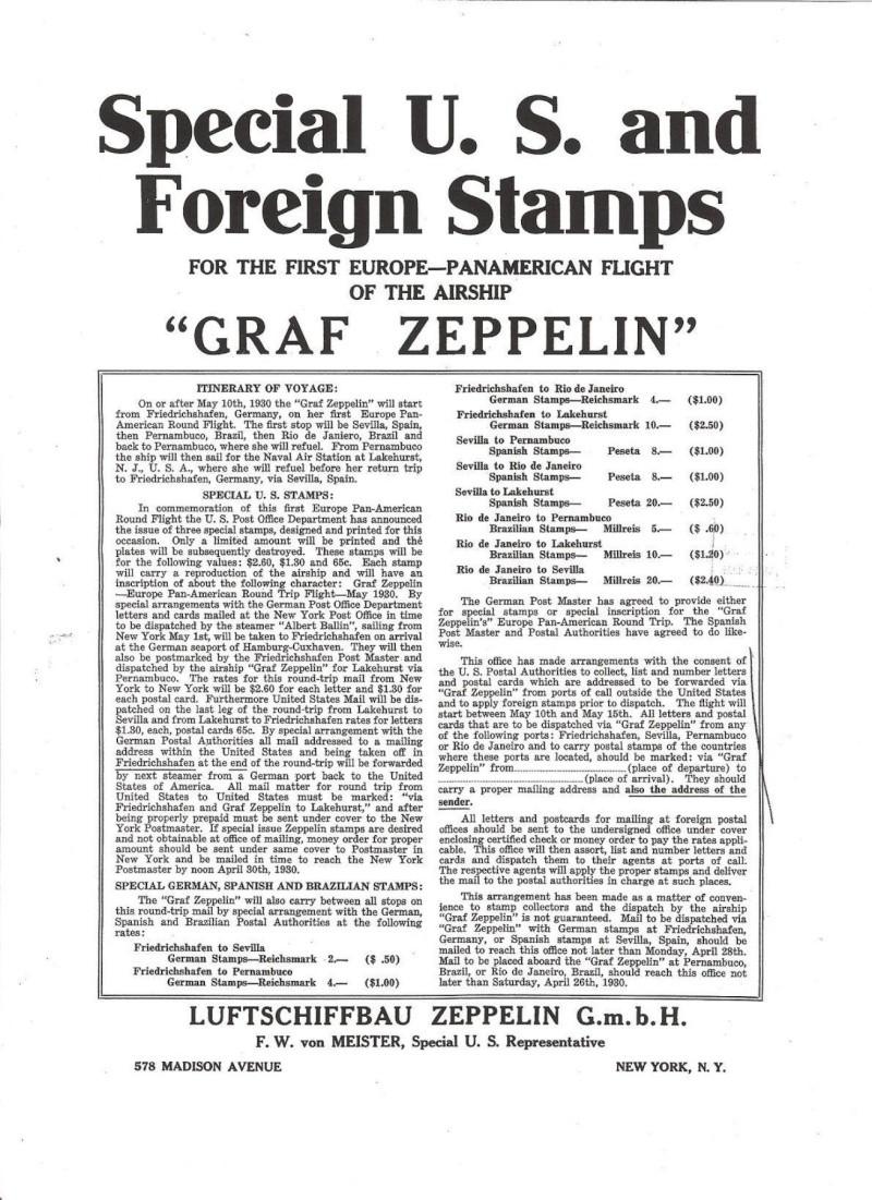 Südamerikafahrt 1930, Post nach Lakehurst Plakat10