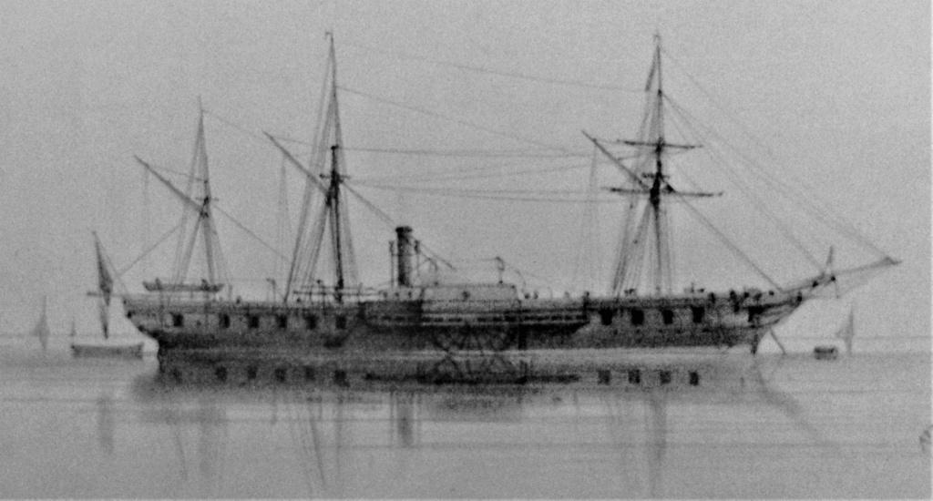 """Frégate à roues """"La Caraïbe"""" perdue en janvier 1847. A_frzo11"""