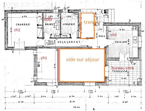 Renovation - organisation partie séjour/cuisine/salle à manger de 55m2 C112