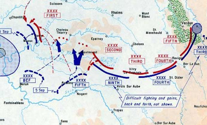 Histoire d'escarmouches de la 9eme Div. Cavalarie. : général de l'Espéee en 1914 Map_ba10