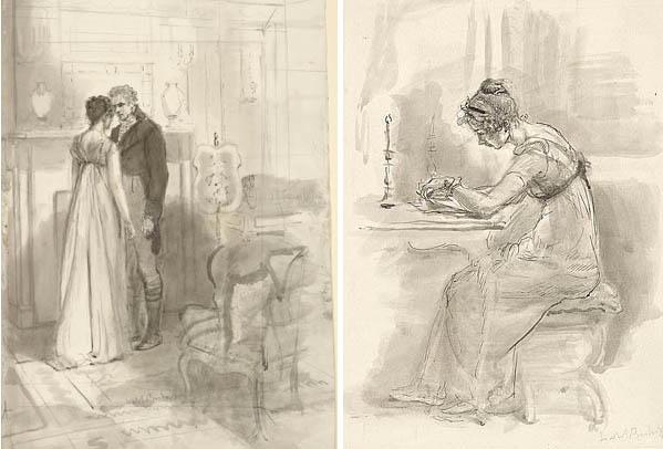Gravuras de edições de Orgulho e Preconceito do século passado Austen10