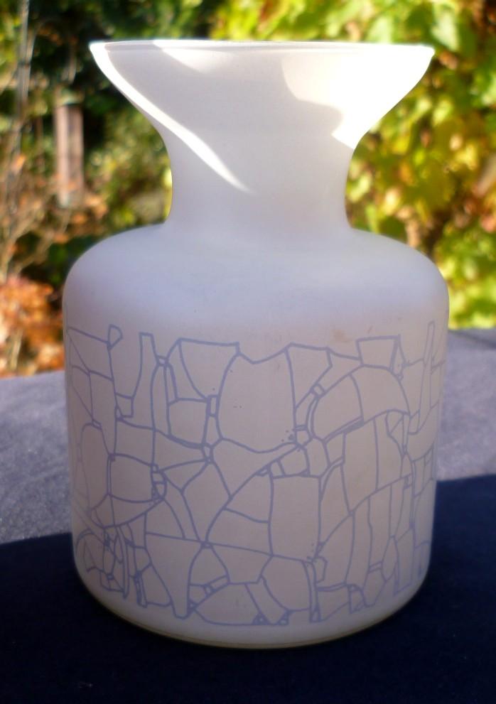 Interesting bottle vase with acid etched finish decoration P1020321