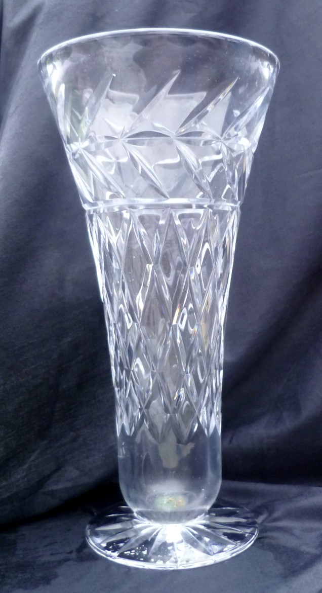 Delightfully cut crystal vase with acid etched mark but unreadable P1020523