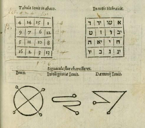 Explication des sigils des carrés magiques chez Agrippa 0411