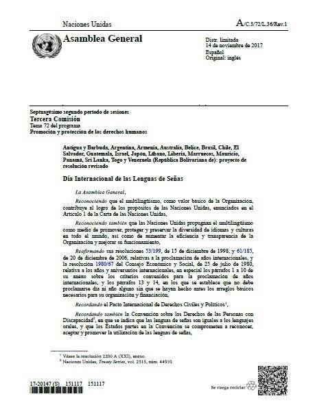23 Septiembre - Día Internacional de las Lenguas de Signos CDPC-ONU Artículo 21. 110