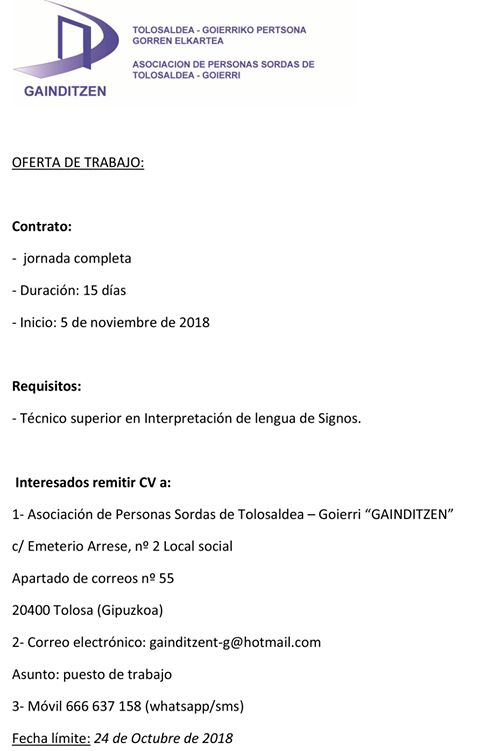 La Asoc. de Personas Sordas GAINDITZEN busca ILSE - Tolosa (Guipuzcoa) 43027110