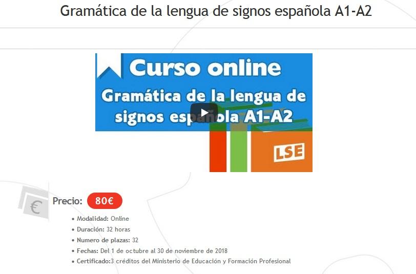 "Curso online CNSE ""Gramática de la lengua de signos española A1-A2"" Cnse-g10"