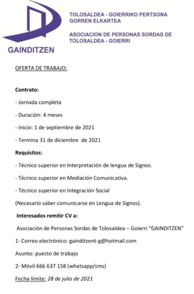 Empleo: ILSe/MECO/Integrador Social para la asociación de Personas Sordas de Tolosaldea-Goierri Gainditzen  Screen14