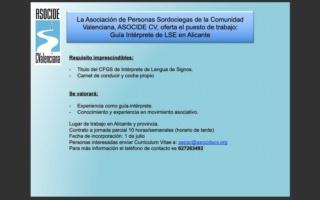 ASOCIDE CV busca Guia-Intérprete de LSE para la provincia de Alicante Whatsa10