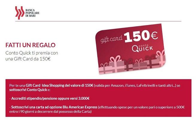 BANCA POPOLARE DI BARI regala GIFT CARD € 150 valida per Amazon, Zalando, Ikea, Trony, Iper, Esselunga, Carrefour, Decathlon, ecc. [scaduta il 31/08/2018] Banca_10