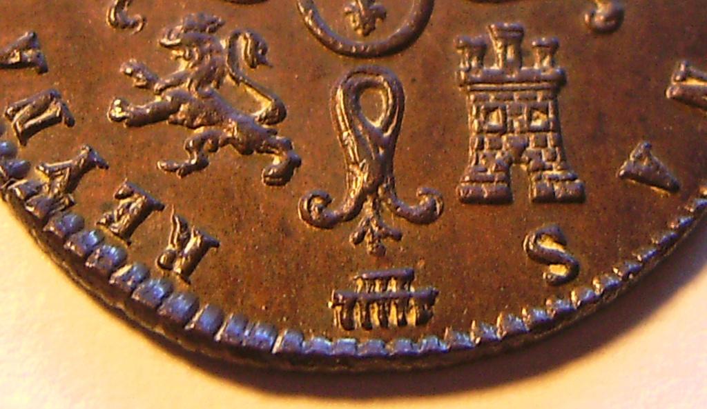 2 Maravedís 1843. Isabel II. Segovia Detall16