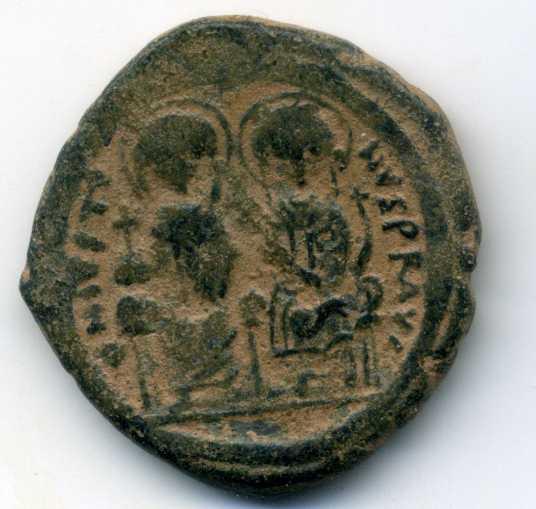 40 nummi de Justino II y Sofía Anv00111