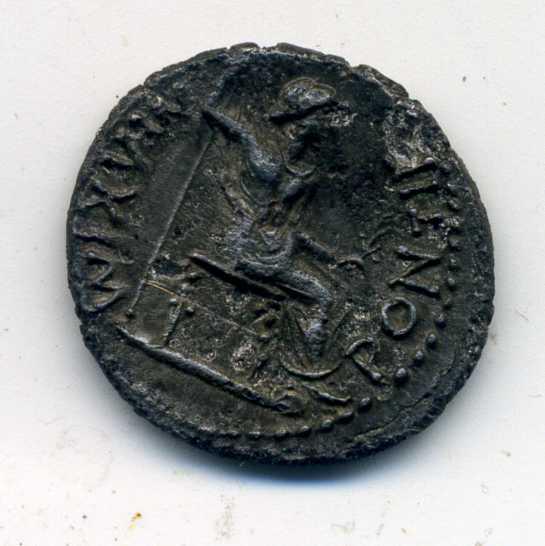 Denario de Tiberio. PONTIF MAXIM. Lyon Rev-ti10