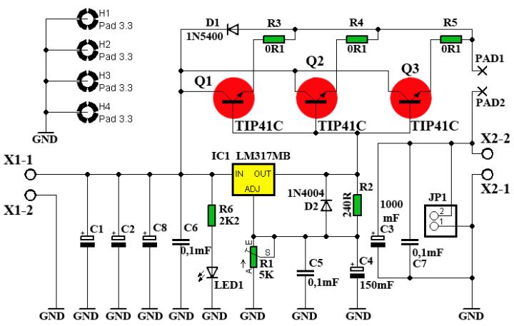 Регулируемый БП 1,2...30 В, 10 А (LM317 + 3 х 2SC5200). _00110