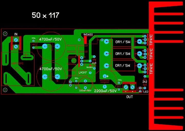 Регулируемый БП 1,2...30 В, 10 А (LM317 + 3 х 2SC5200). _00411