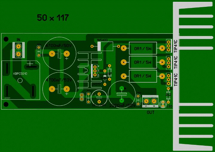 Регулируемый БП 1,2...30 В, 10 А (LM317 + 3 х 2SC5200). _00511