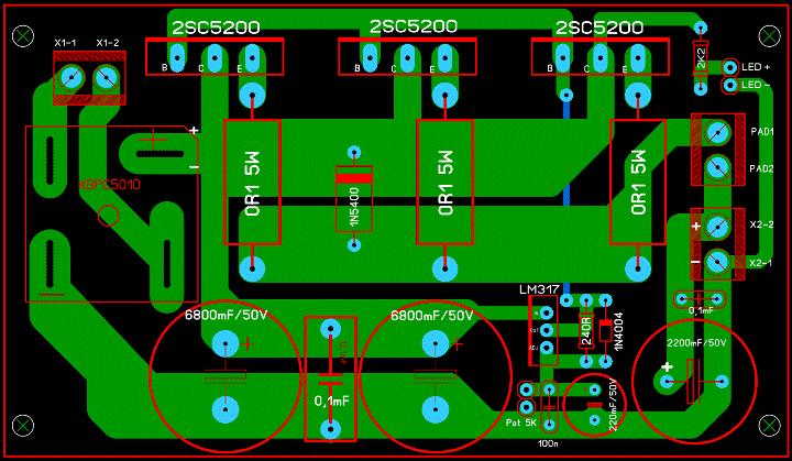 Регулируемый БП 1,2...30 В, 10 А (LM317 + 3 х 2SC5200). _00611