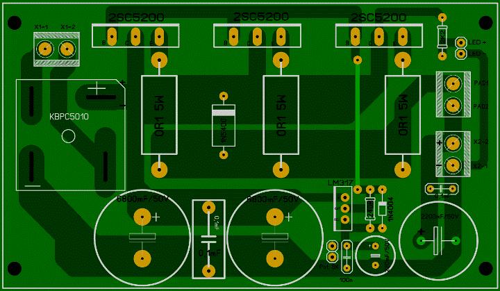 Регулируемый БП 1,2...30 В, 10 А (LM317 + 3 х 2SC5200). _00711