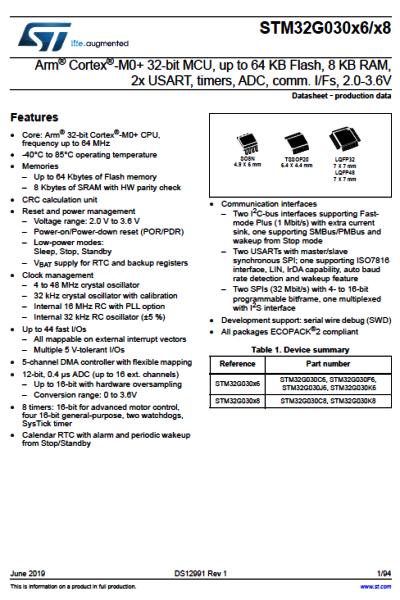 STM32G0. Документация (Datasheet, разное). Datash14