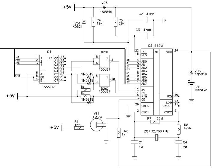 ОРИОН - Орион-128: Подключение RTC 512ВИ1 E512n110