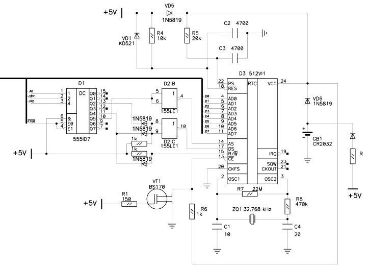 ОРИОН - Орион-128: Подключение RTC 512ВИ1 E512n111