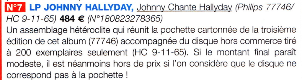 A propos de l'édition hors commerce de l'album Johnny chante Hallyday Chante10