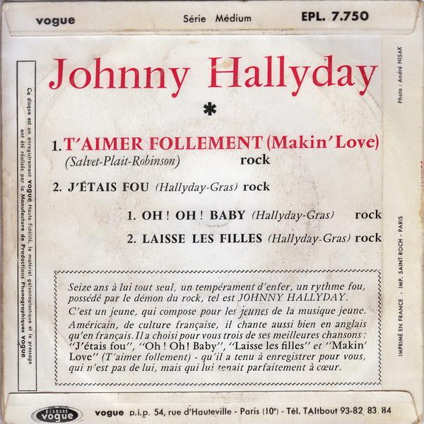 T'aimer follement ( EP 45 TOURS )( TOUTES LES EDITIONS )( 1960 - 2019 ) Epl_7710