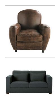 Canapé tissu gris anthracite et fauteuil club cuir marron vieilli assortis ? Canap_10