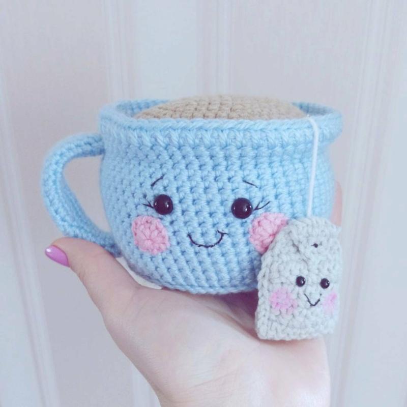 Вязаная чашечка с пакетиком чая (ИГОЛЬНИЦА) 15401210
