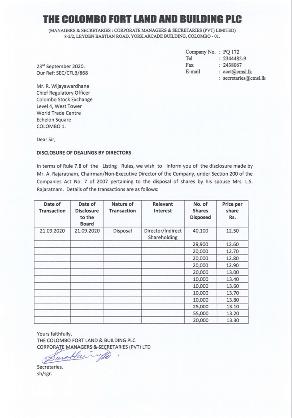 THE COLOMBO FORT LAND & BUILDING PLC (CFLB.N0000) - Page 9 2dbb9210