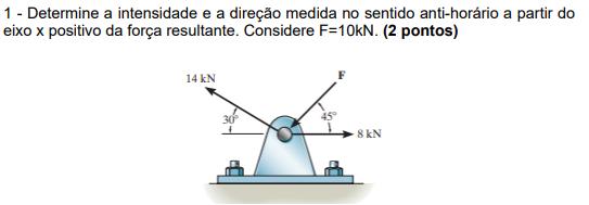 Intensidade e direção a partir da força resultante Sem_tz11
