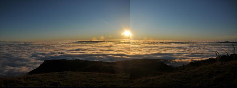 mer de nuage sur coucher de soleil Panora11