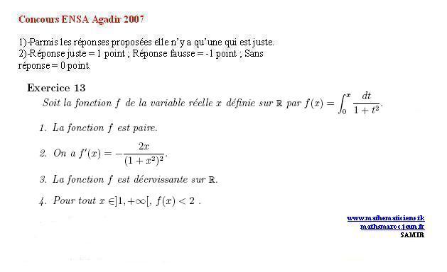 Concours ENSA agadir 2007(exercice13) Ex1310