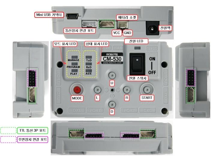 Nuevo controlador CM-530 con CPU ARM Cortex M3 de 32 bits y USB para robots BIOLOID PREMIUM y GP  Cm-53010