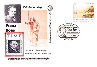 "MT-Serie Franz Boas: Sonderstempel ""150. Geburtstag Franz Boas"" am Samstag 17743310"