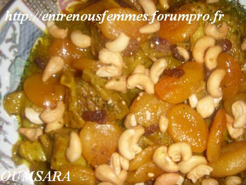 Dwaz ou L'mar9a à la marocaine aux abricots secs et noix d'acajou Veau110