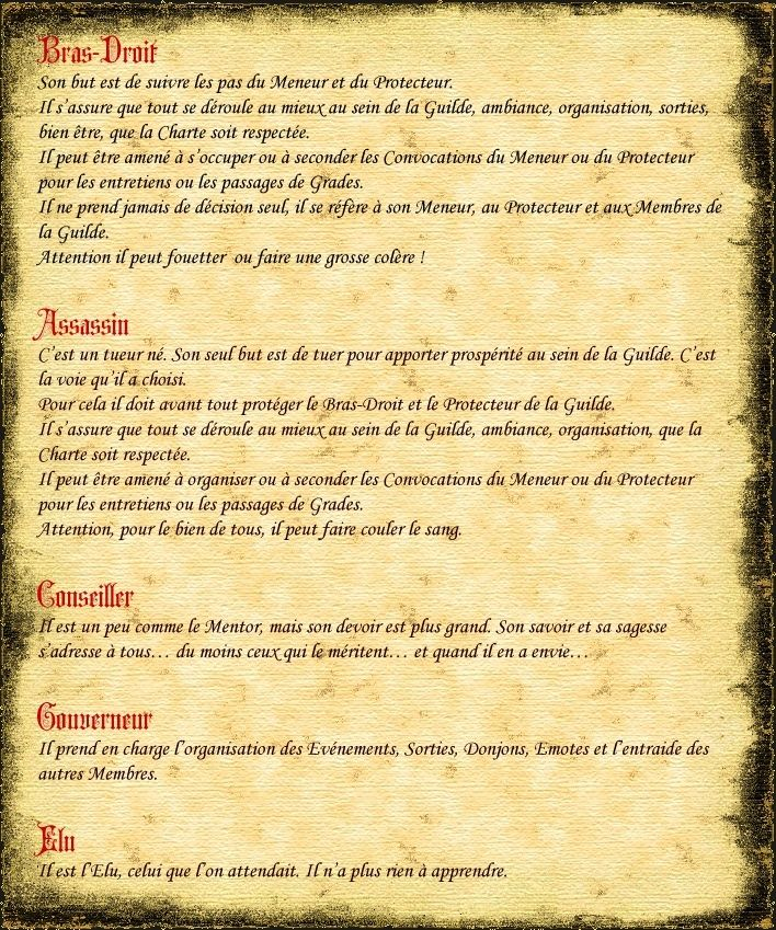 """LES GRADES - Définition au sein de la Guilde """"Spirit of Shadow"""" Dafijh10"""